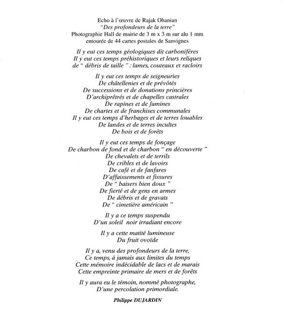 Texte de Philippe Dujardin