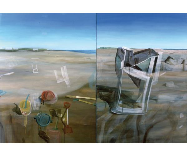 huile sur toile, 200 x 290 cm, diptyque<br/>Collection Musée d'art moderne et contemporain, Strasbourg<br/>Crédit photo : Galerie Zürcher, Paris