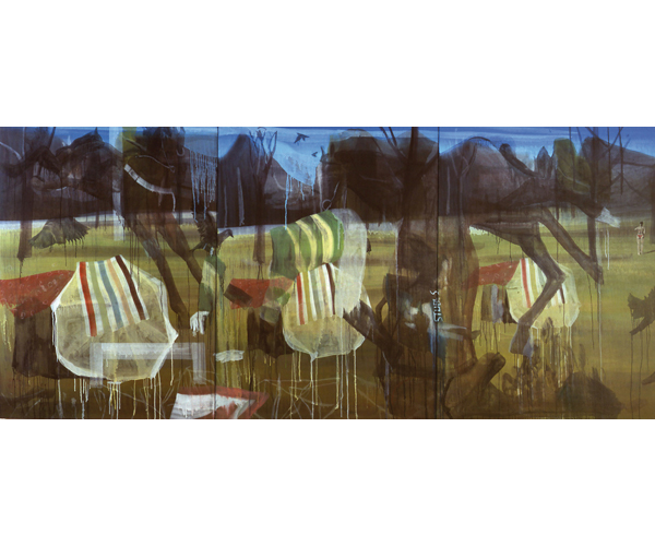 huile sur toile, 200 x 450 cm, triptyque<br/>Collection particuli�re<br/>Cr�dit photo : Galerie Z�rcher, Paris