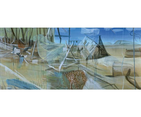 huile sur toile, 200 x 450 cm, triptyque<br/>Collection Bernard Magrez, Bordeaux<br/>Crédit photo : Galerie Zürcher, Paris