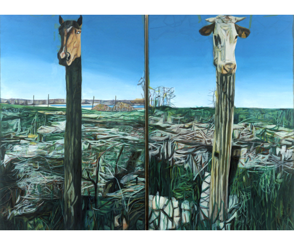 huile sur toile, 205 x 280 cm, diptyque<br/>Collection MNAM, Centre Georges Pompidou, Paris<br/>Crédit photo : Galerie Zürcher, Paris