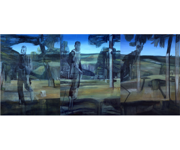 huile sur toile, 205 x 450 cm, triptyque<br/>Collection Fonds municipal de la ville de Paris<br/>Cr�dit photo : Galerie Z�rcher, Paris