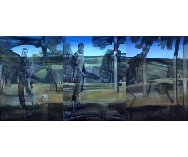huile sur toile, 205 x 450 cm, triptyque<br/>Collection Fonds municipal de la ville de Paris<br/>Crédit photo : Galerie Zürcher, Paris