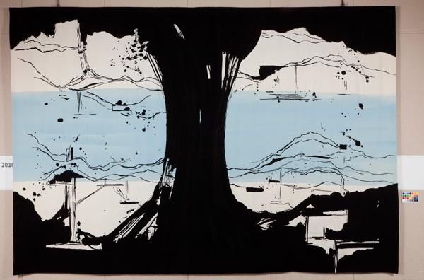 Olivier Nottellet, La rivière au bord de l'eau, tapisserie, 2011
