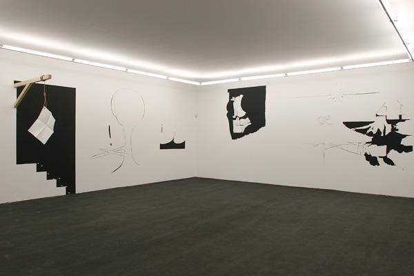 Olivier Nottellet, vue de l'exposition Trait d'union, Sète, 2005