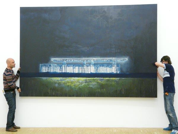 Vue de l'accrochage du DNSEP de Johann Rivat, École des Beaux-Arts de Grenoble, 2008