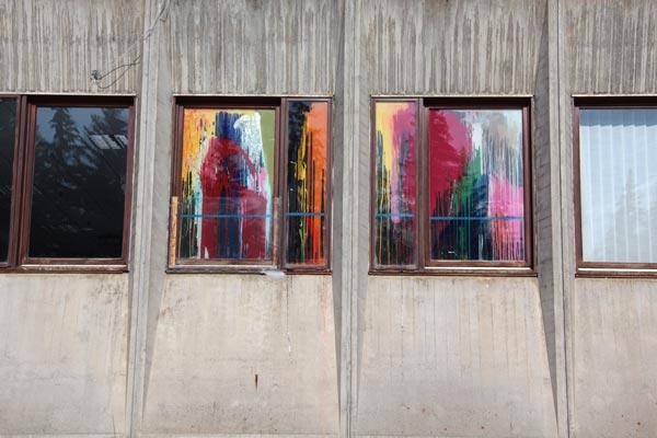 Polyptyque, alkyde et peinture à carrosserie sur verre, 2 x (160 x 39 cm) ; 2 x (154 x 91 cm)</br>2/3
