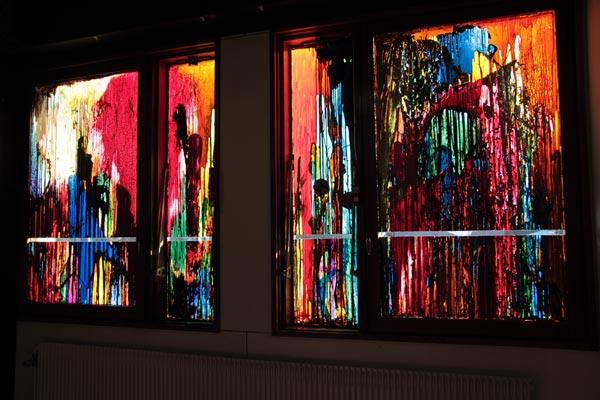 Polyptyque, alkyde et peinture à carrosserie sur verre, 2 x (160 x 39 cm) ; 2 x (154 x 91 cm)</br>2/4