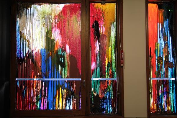Polyptyque, alkyde et peinture à carrosserie sur verre, 2 x (160 x 39 cm) ; 2 x (154 x 91 cm)</br>3/4