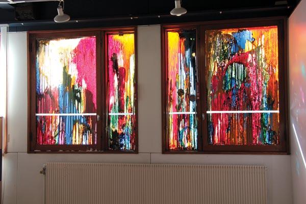 Polyptyque, alkyde et peinture à carrosserie sur verre, 2 x (160 x 39 cm) ; 2 x (154 x 91 cm)</br>4/4