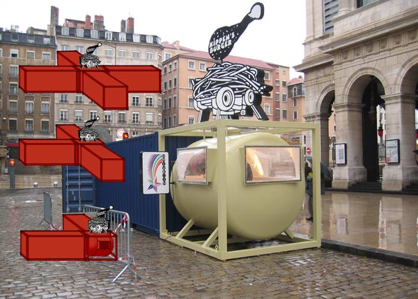 Dejode & Lacombe, Kippen's Burger, vue de L'Art sur la place, Place de la Comédia, Lyon, 2002
