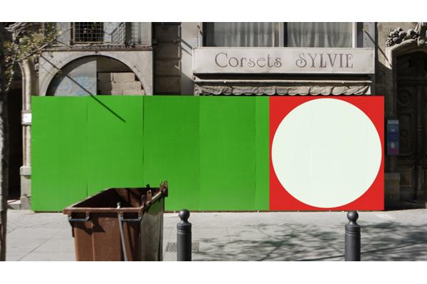Peinture sur devanture de commerce d�saffect�, rue de la R�publique, Marseille, 180 x 180 cm