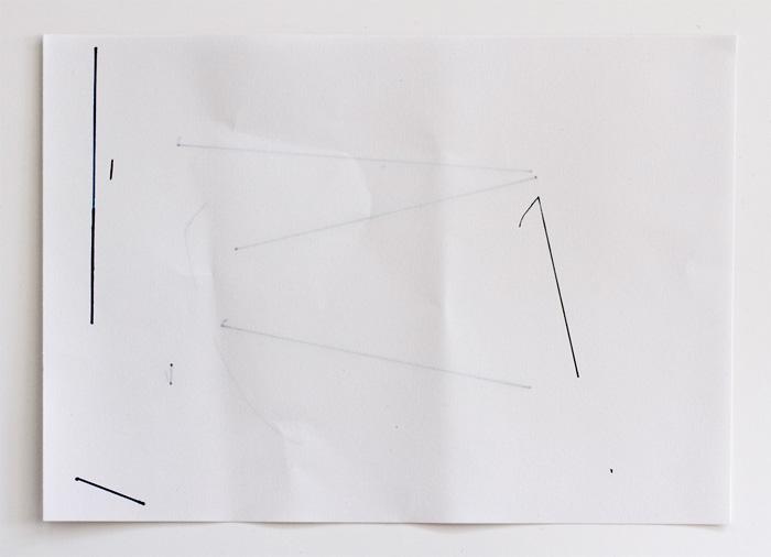 Encre et pli sur papier, 21 x 29 cm