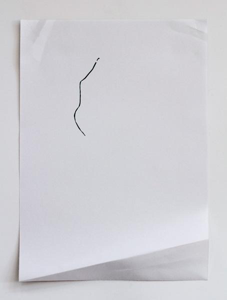 Encre et pli sur papier, 29 x 21 cm