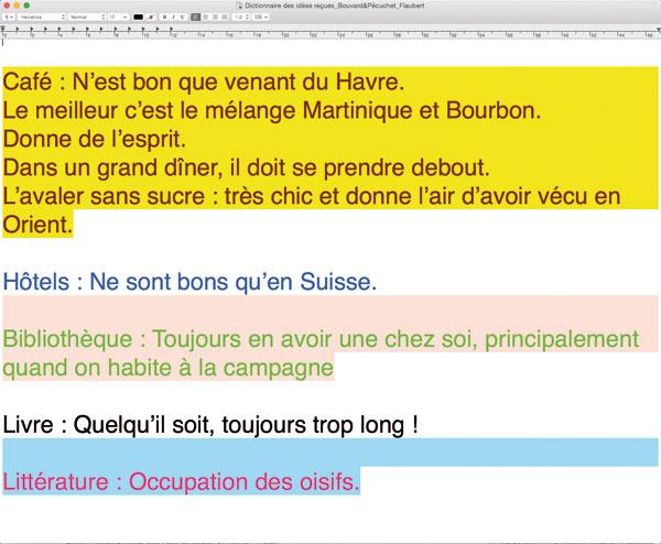Capture d'écran de TextEdit, citations issues du <i>Dictionnaire des Idées reçues</i>, Bouvard et Pécuchet, Gustave Flaubert