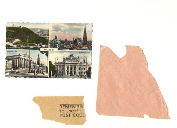 Recette, note de restaurant, prospectus, scan d'une double page de WG Sebald, cartes postales, fragments d'enveloppes, journaux du jour en différentes langues etc.