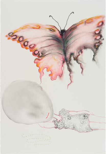 Poudre de graphite, pastels, crayons de couleur sur papier, 112 x 77 cm