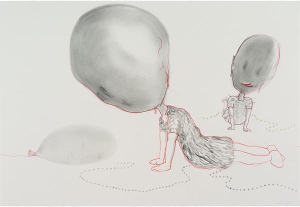 Poudre de graphite, pastels, crayons de couleur sur papier, 77 x 112 cm