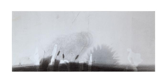Graphite et gesso sur papier, 21,1 x 49,9 cm