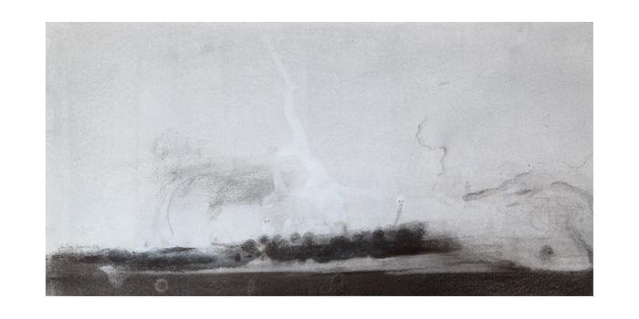Graphite et gesso sur papier, 22 x 43,9 cm