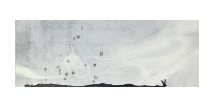 Graphite et gesso sur papier, 23,1 x 63,6 cm