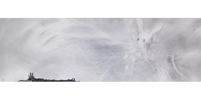 Graphite et gesso sur papier, 30,1 x 94,3 cm