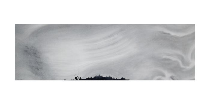 Graphite et gesso sur papier, 26 x 83 cm