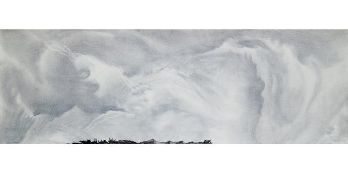 Graphite et gesso sur papier, 36,5 x 110 cm