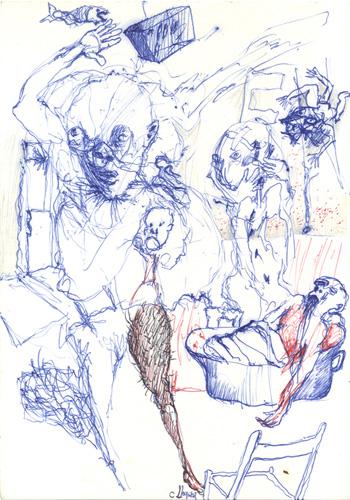 Stylo bille et crayons sur papier, 21 x 17 cm