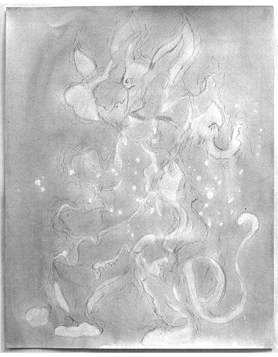 5 dessins, lavis sur papier, 65 x 50 cm