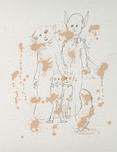 Crayons, gesso et acrylique sur papier, 65 x 50 cm