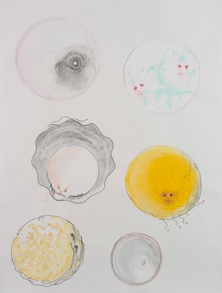 Crayons, acrylique sur papier, 150 x 114 cm