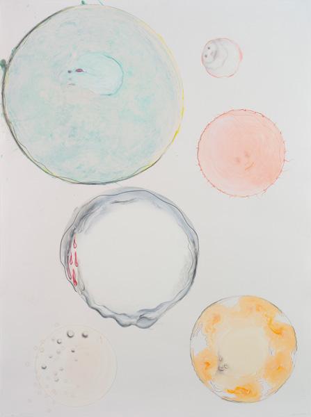 Crayons, acrylique sur papier, 154 x 114 cm
