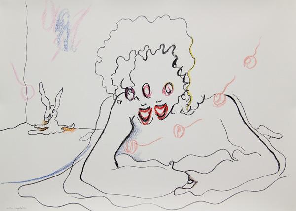 Crayons sur papier enduit de gesso, 50 x 70 cm