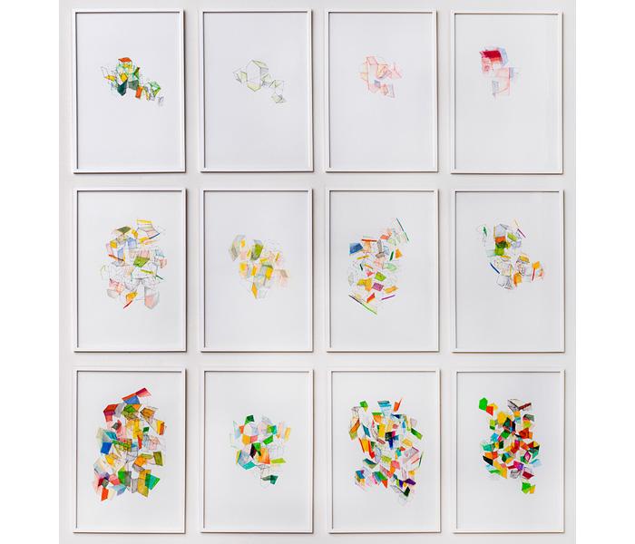<i><b>Plissements</b></i>, 2018</br>Encre, feutre et crayon de couleur sur papier, 42 x 29,7 cm</br>Photo : © G.J. van Rooij