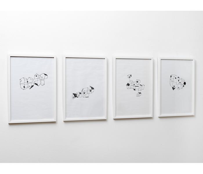 <i><b>Inhabitats</b></i>, 2018</br>Feutre noir sur papier, 29,7 x 21 cm</br>Photo : © G.J. van Rooij