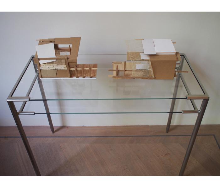 <i><b>Maquettes abandonnées</b></i>, sur table</br>Bois, carton, carton plume, papier, dimensions variables